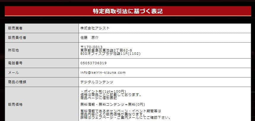 KEIRIN絆(競輪キズナ) 特定商取引法