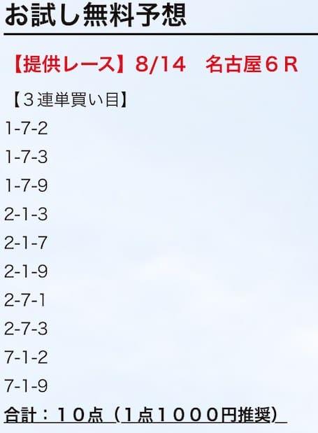 2019年8月14日名古屋6レース