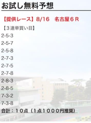 2019年8月16日名古屋6レース