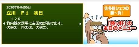 競輪ニュース 青競 佐多輪シェフの勝~負 「勝ッ軒」の本日のメニュー