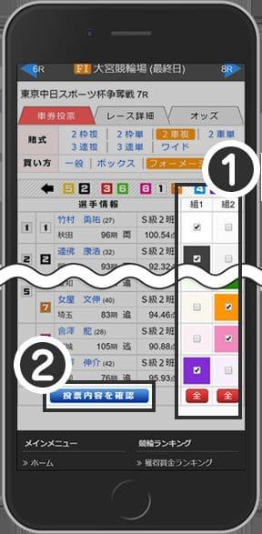 車券投票画面