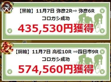 日本競輪投資会 コロガシ成功