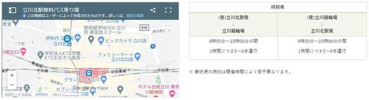 立川北駅無料バス乗り場