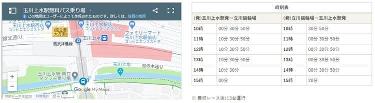 玉川上水駅無料バス乗り場・時刻表