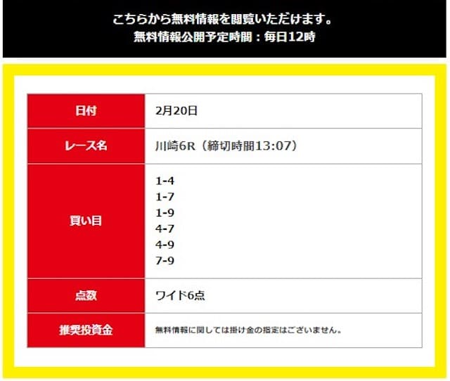 川崎6レース