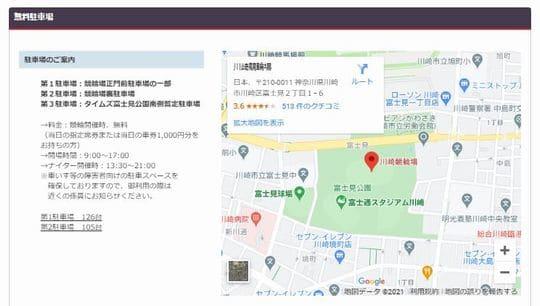 川崎競輪場への自動車でのアクセス
